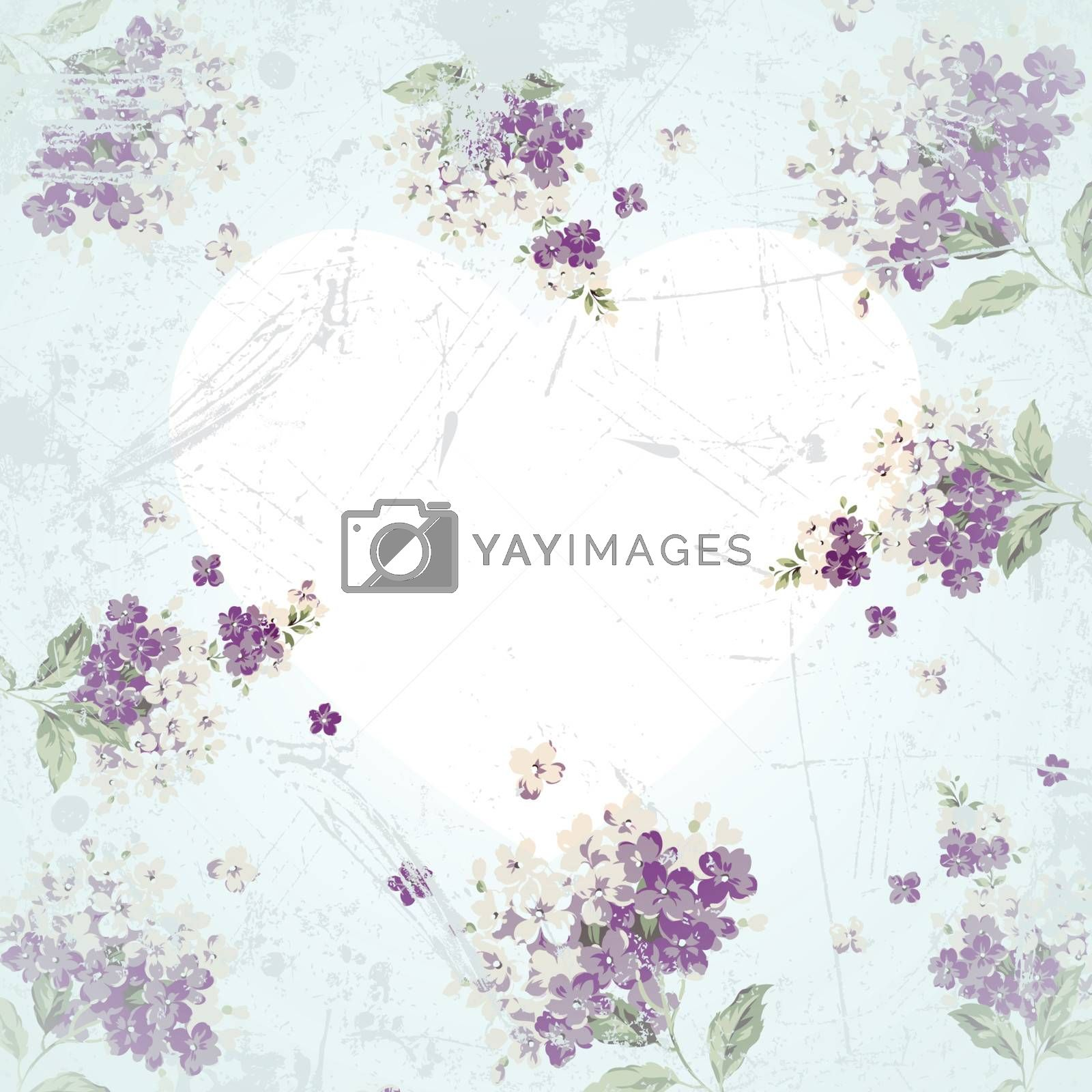vintage background with flowers and heart