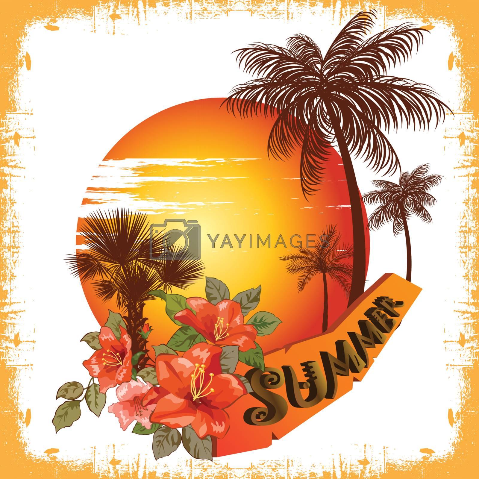 summer illustration palm tree and sun