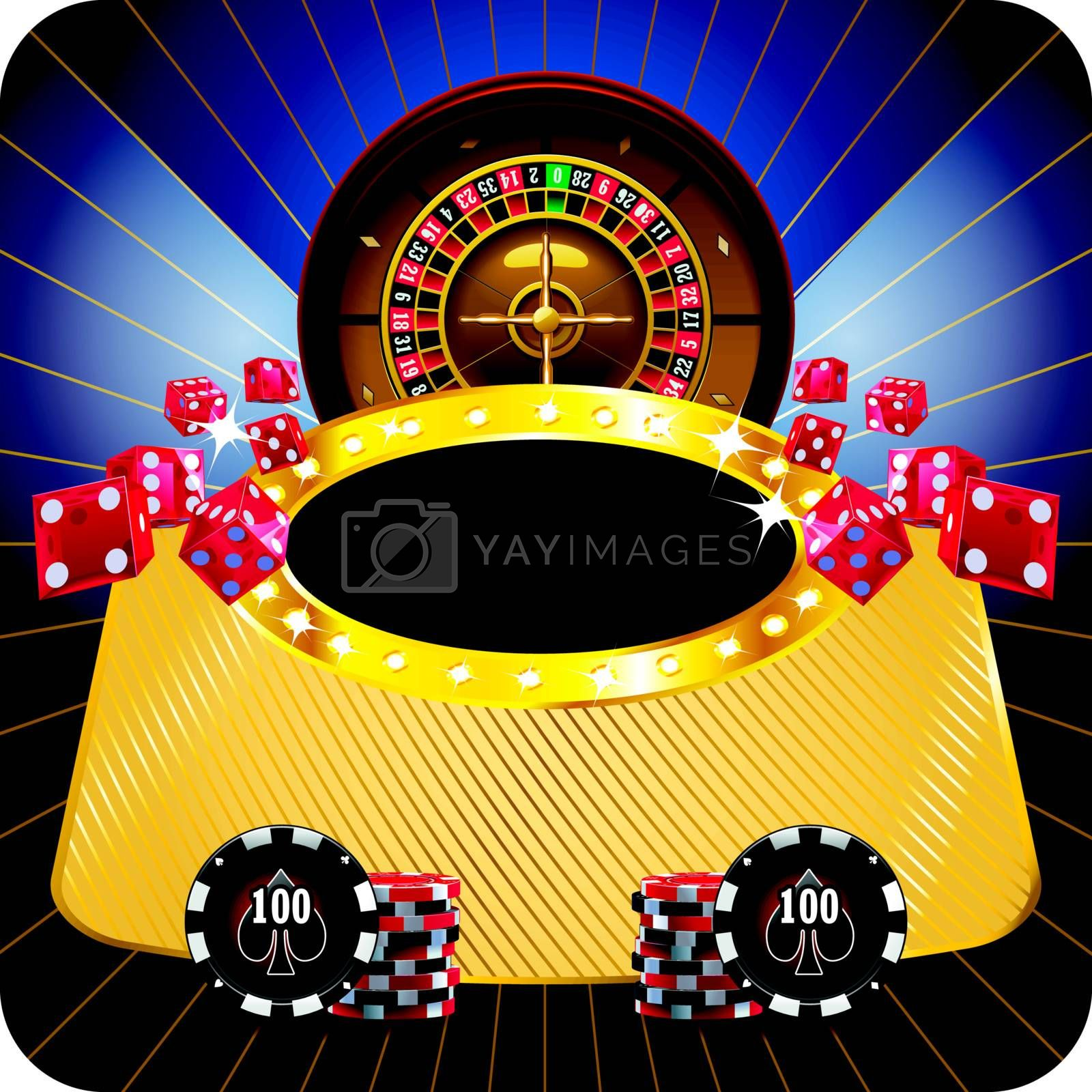Casino dark framed composition with roulette wheel