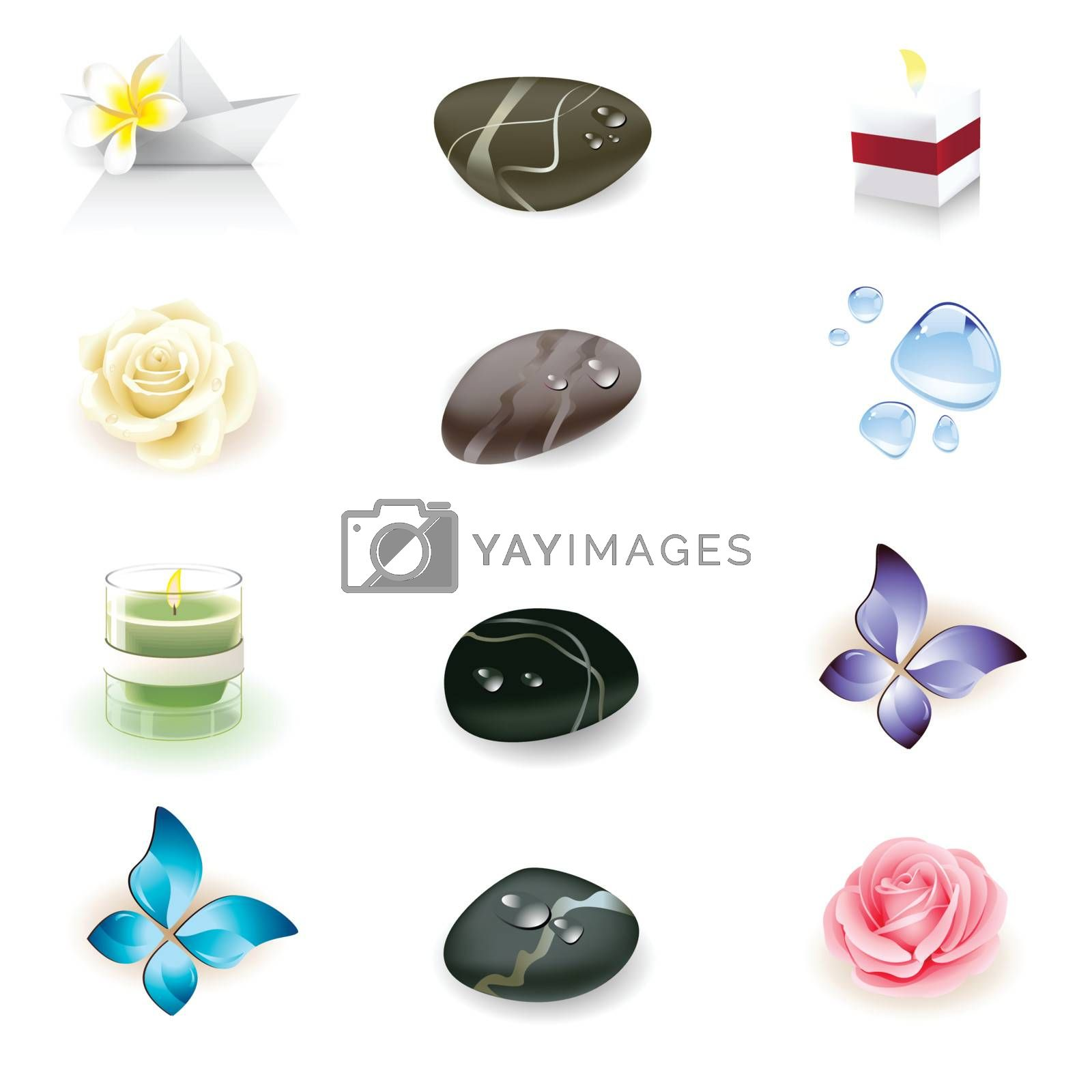 spa icon set, health and beauty seria