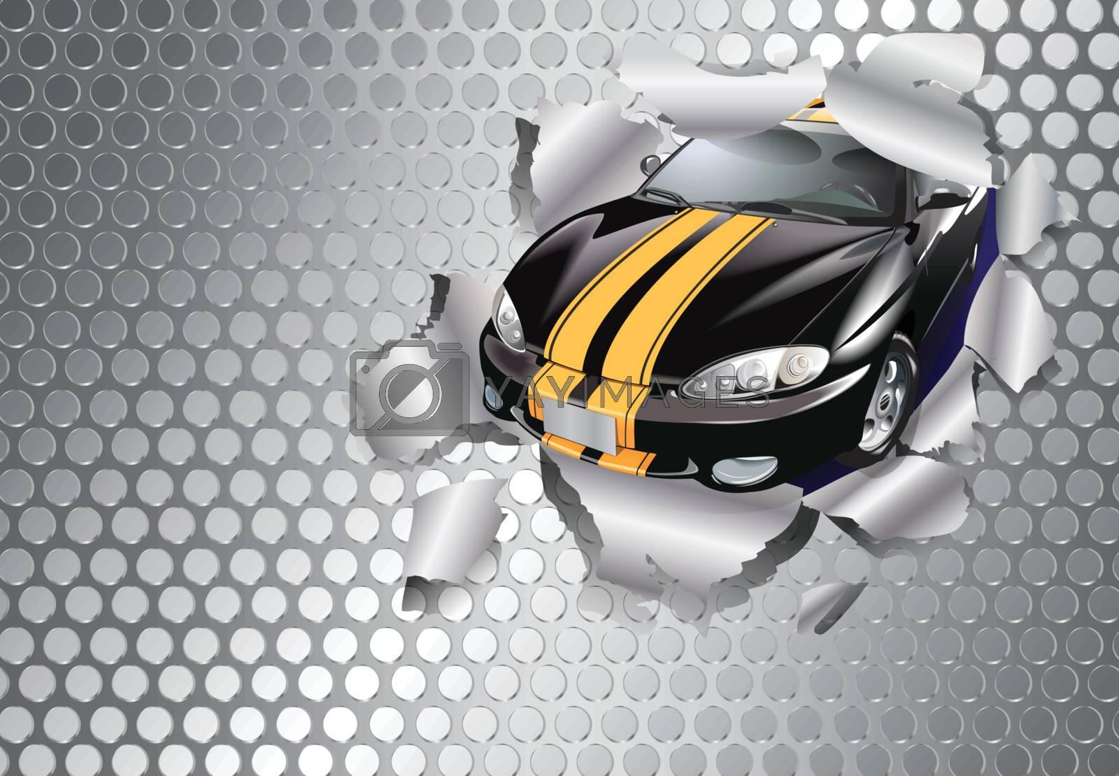 Car tear through the steel plate