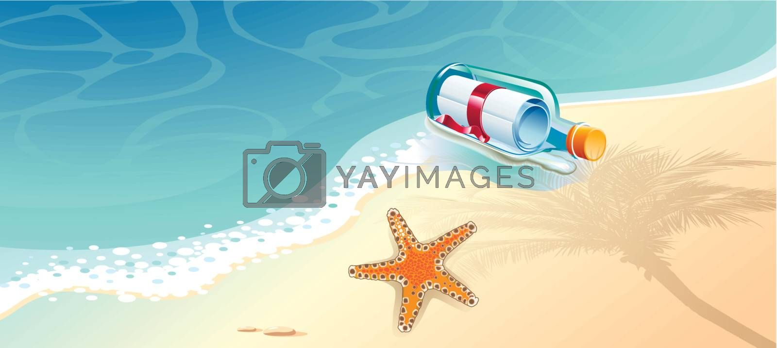 Mail in a glass bottle floating in the sea, and starfish.