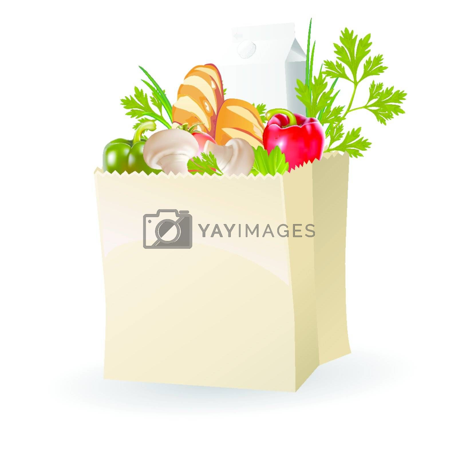Vegetables, milk and bread in paper bags