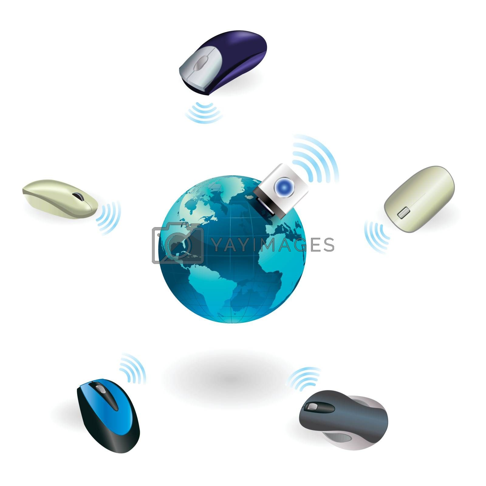 Wireless mouse connect with global on Isolated Illustration