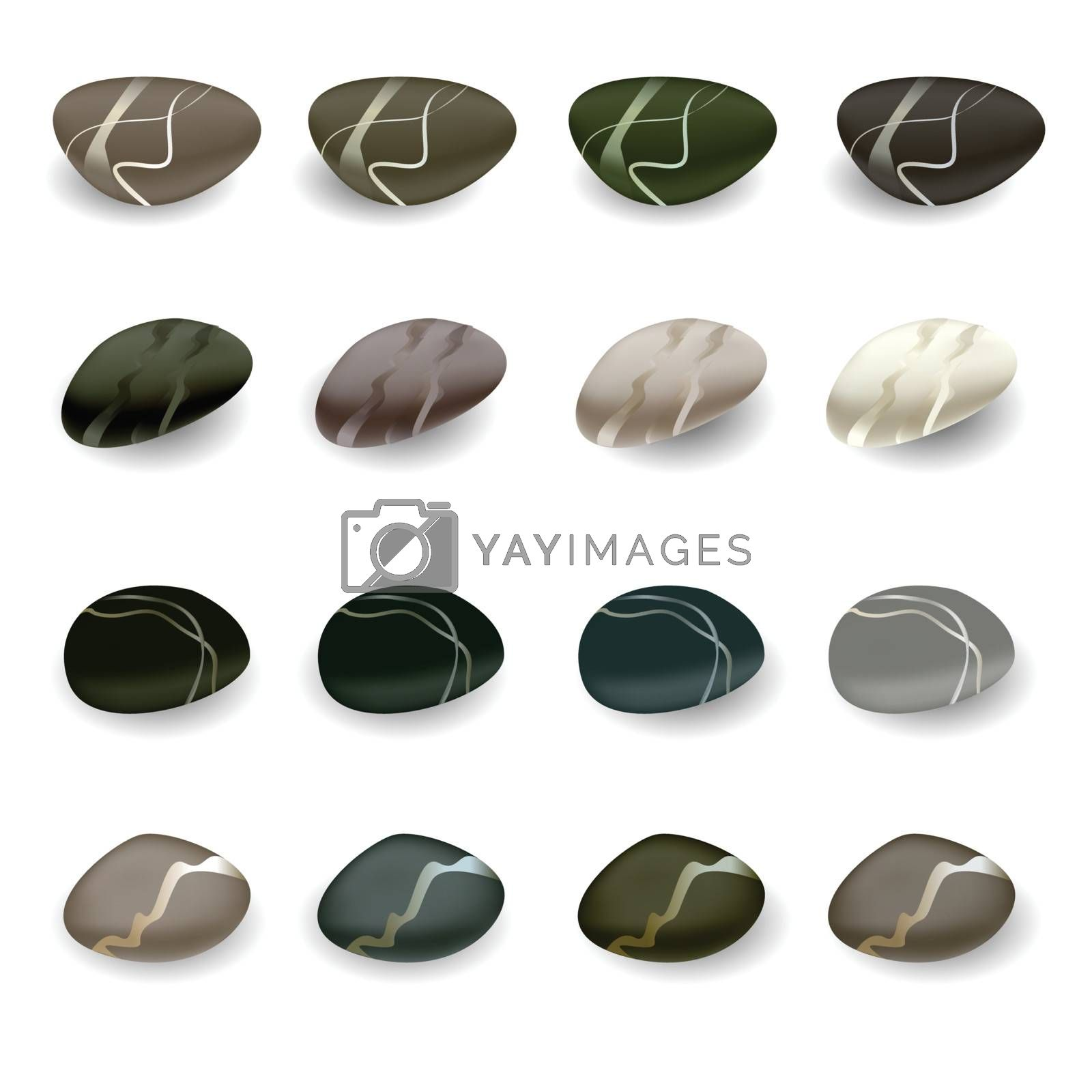 various color spa stones