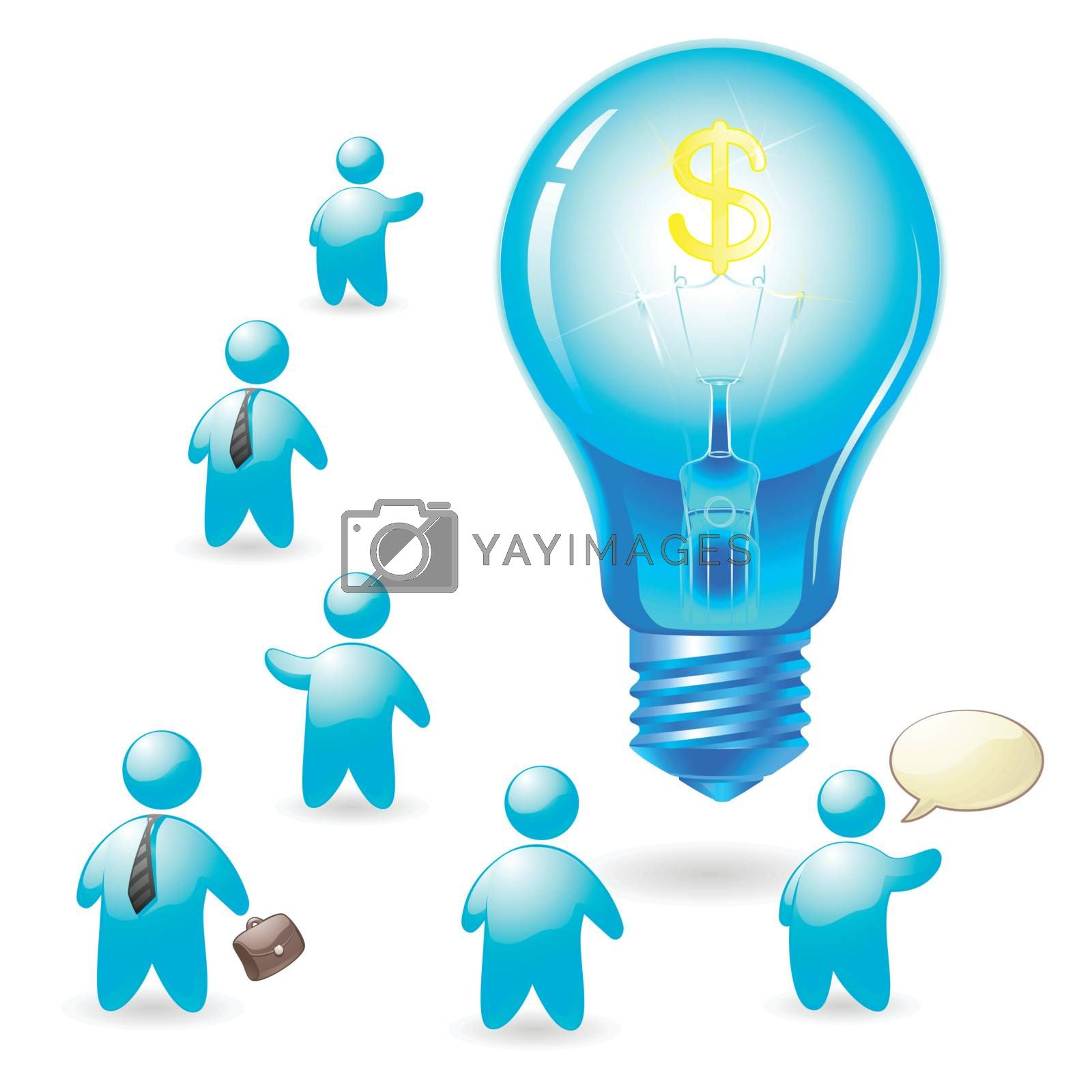 3d man and Light bulb with dollar icon money earning idea