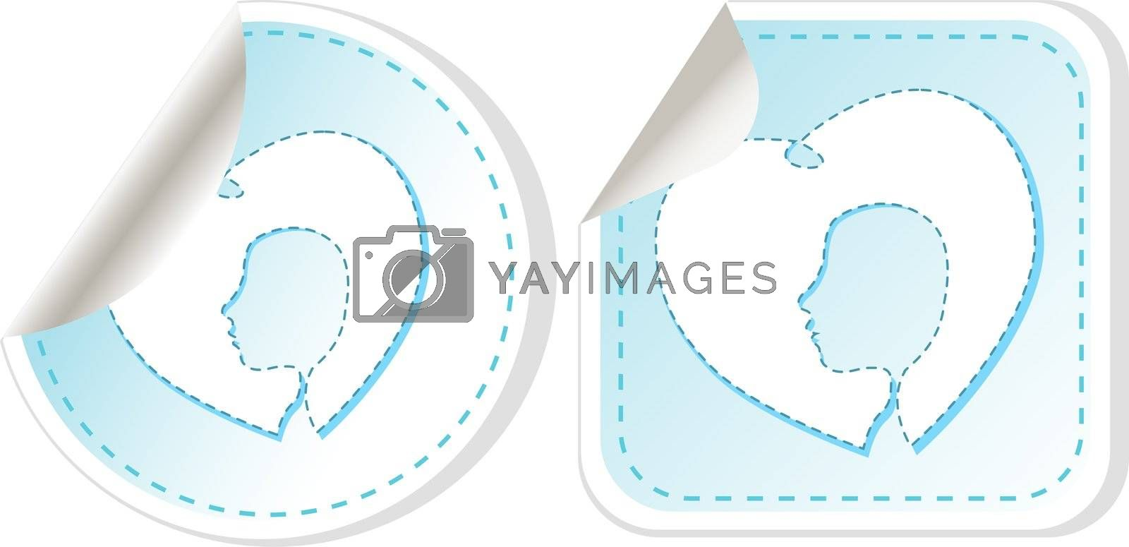 stickers label tag set with woman and man head
