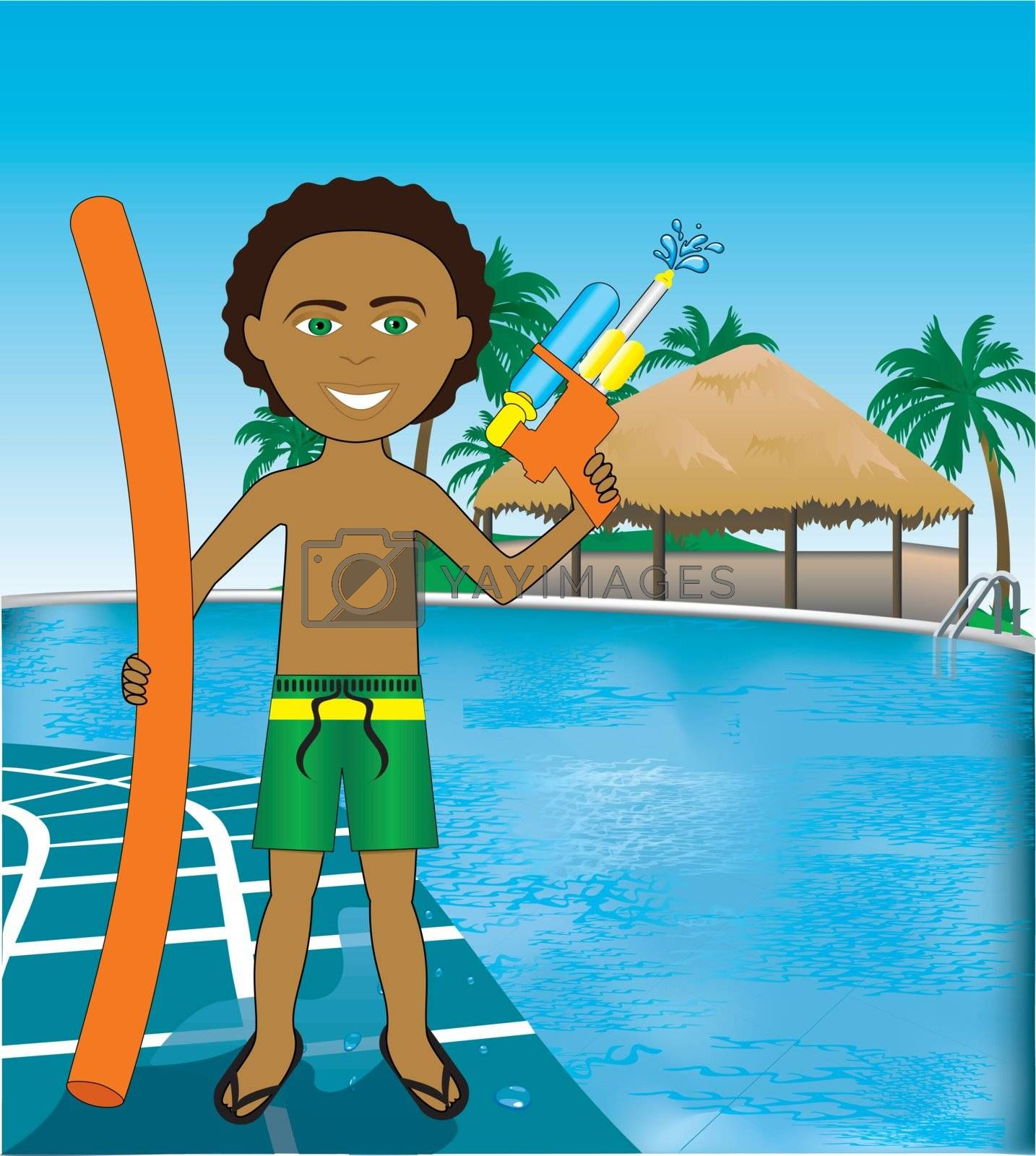 Vector Illustration of Hawaiian Pool Mixed Afro Boy with noodle and water gun.