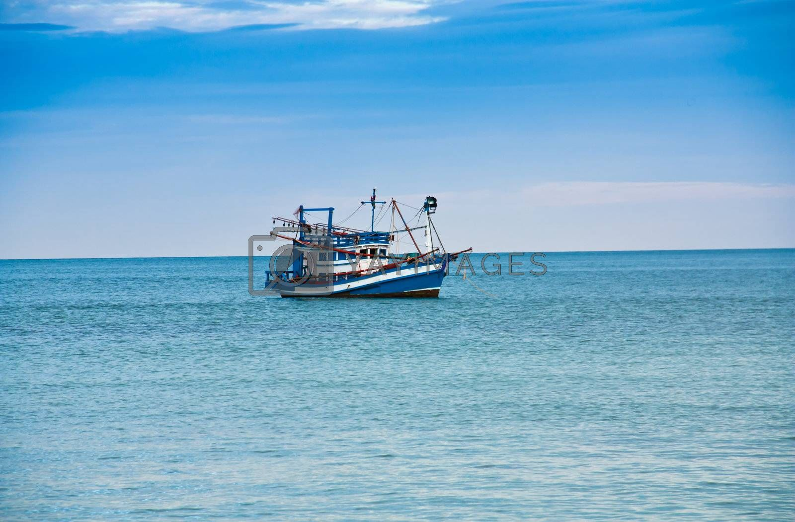 TRAT, THAILAND : Fishing boats in the sea in Thailand.