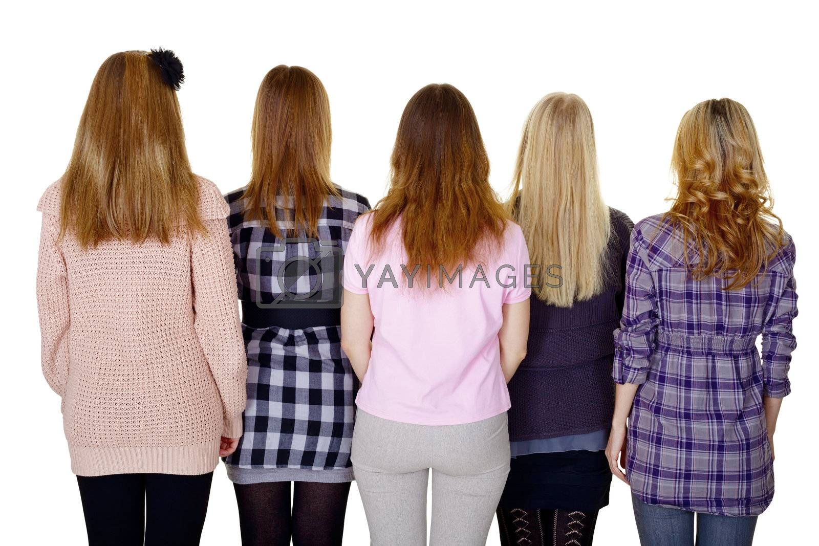 A group of young women - a rear view isolated on white background