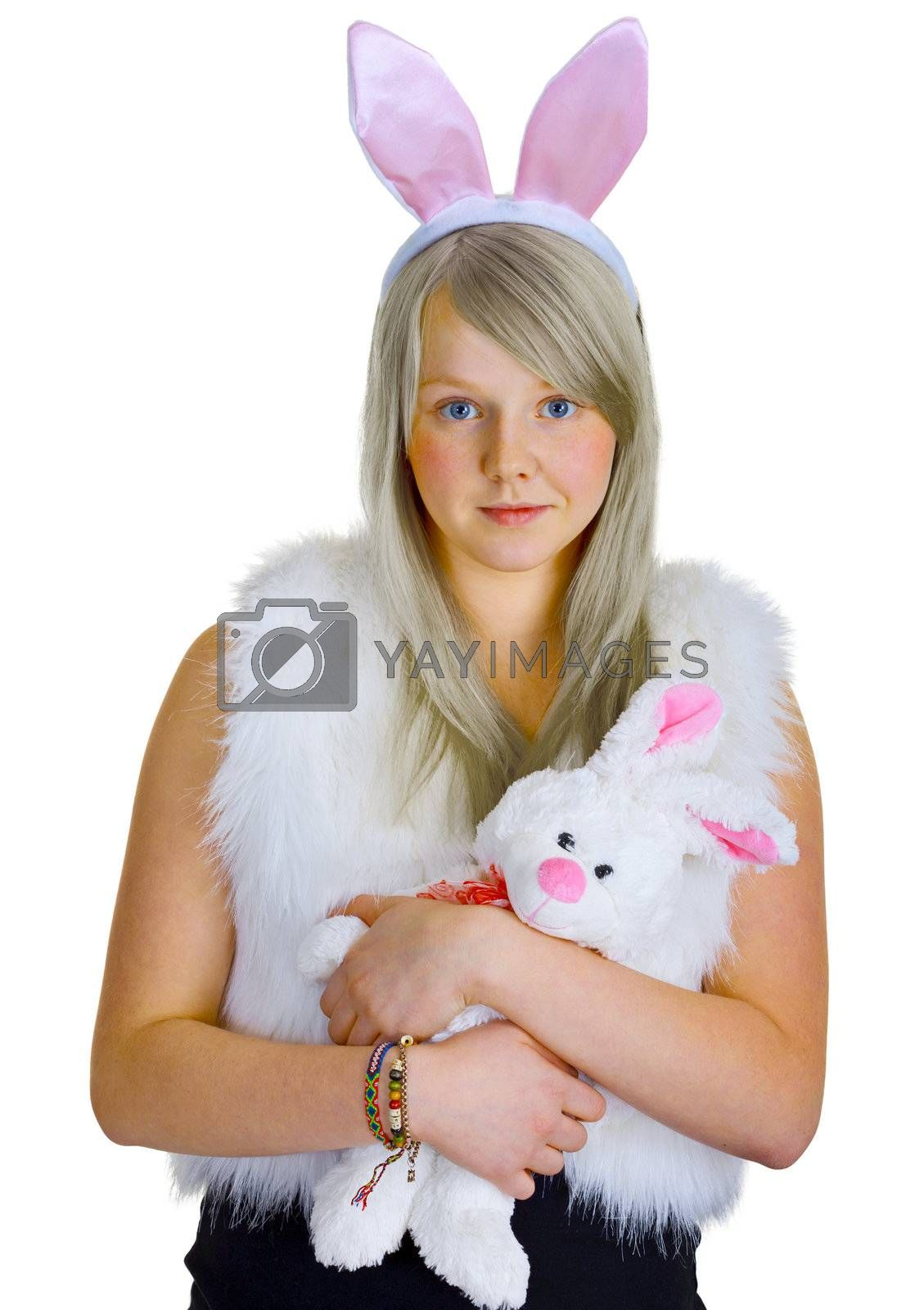 Young blonde in a fancy-dress with toy rabbit by pzaxe