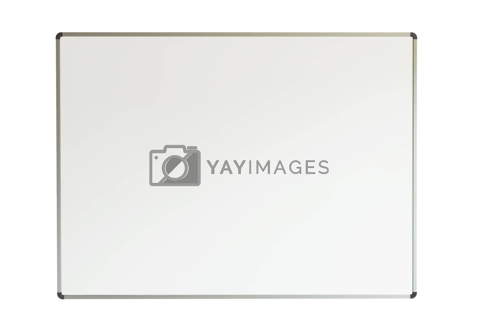 Large whiteboard isolated on a white background