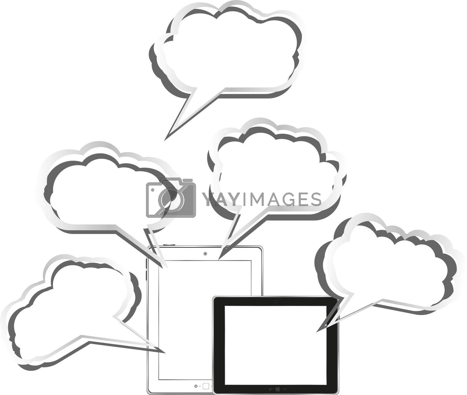 Tablet pc set with abstract cloud sign