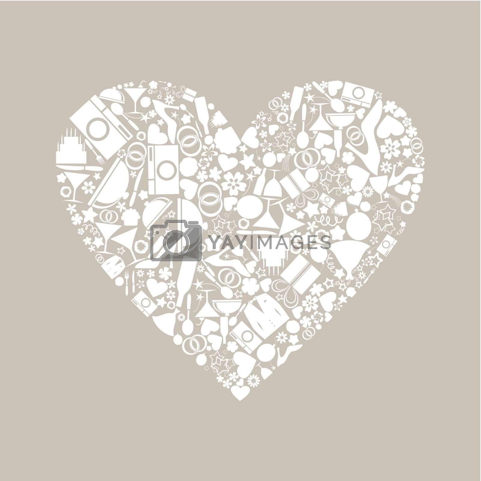 Heart made of wedding subjects. A vector illustration