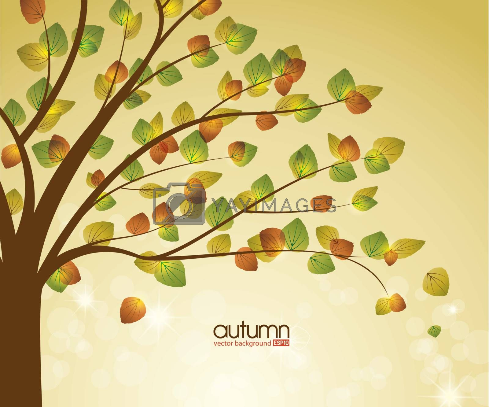 abstract background with autumn tree, vector