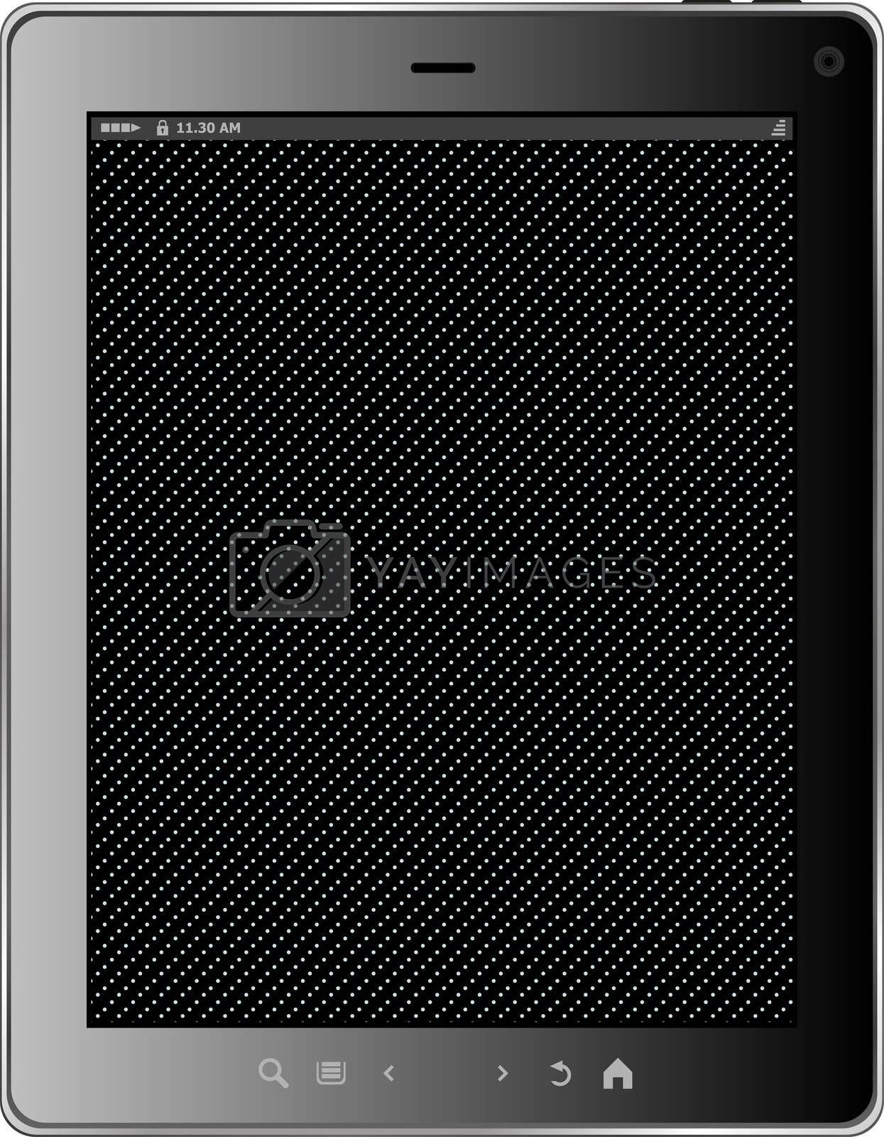 Realistic tablet pc computer with black screen isolated on white background. Vector eps10 illustration