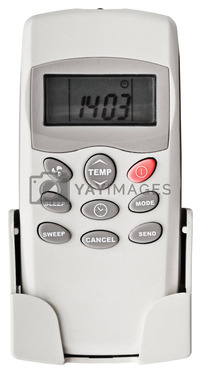 Remote control for household air-conditioner isolated on white background