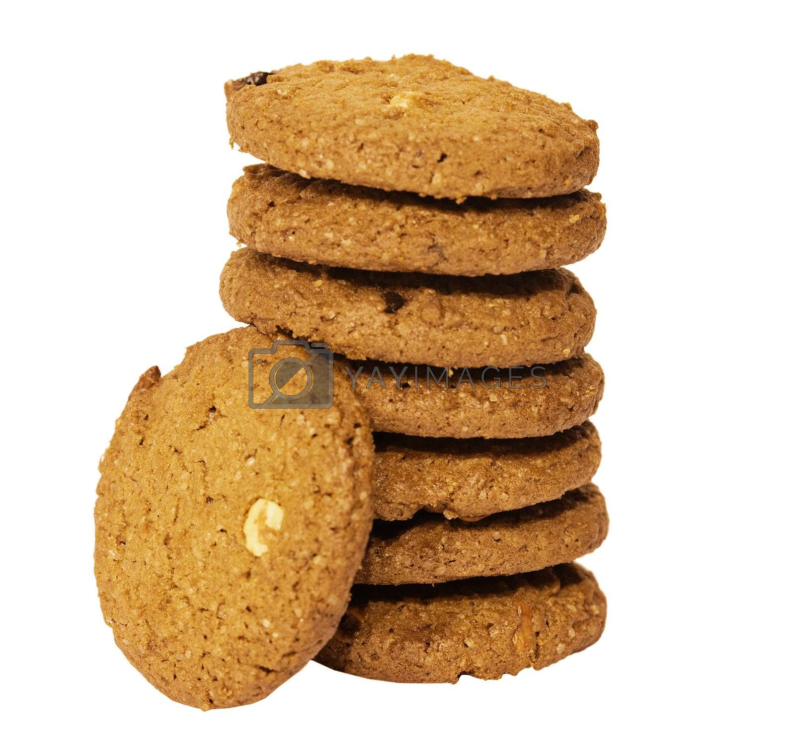 Cookies with nuts and chocolate isolated on white background