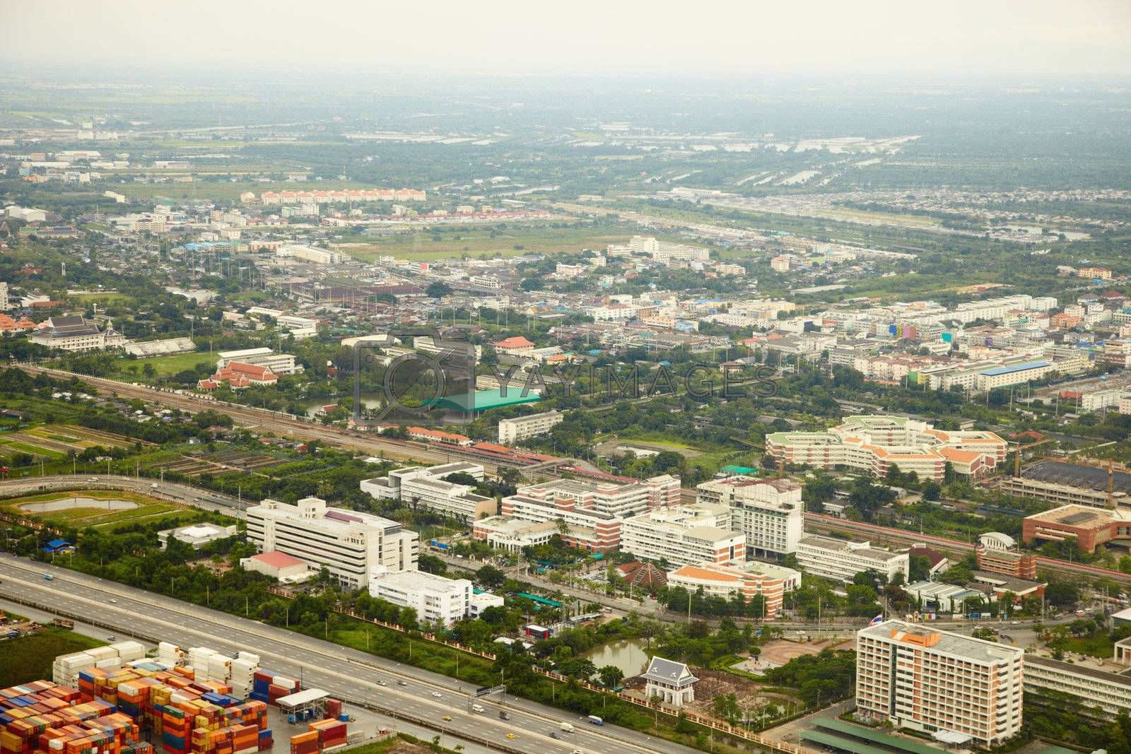 Outlying areas of Bangkok - view from plane