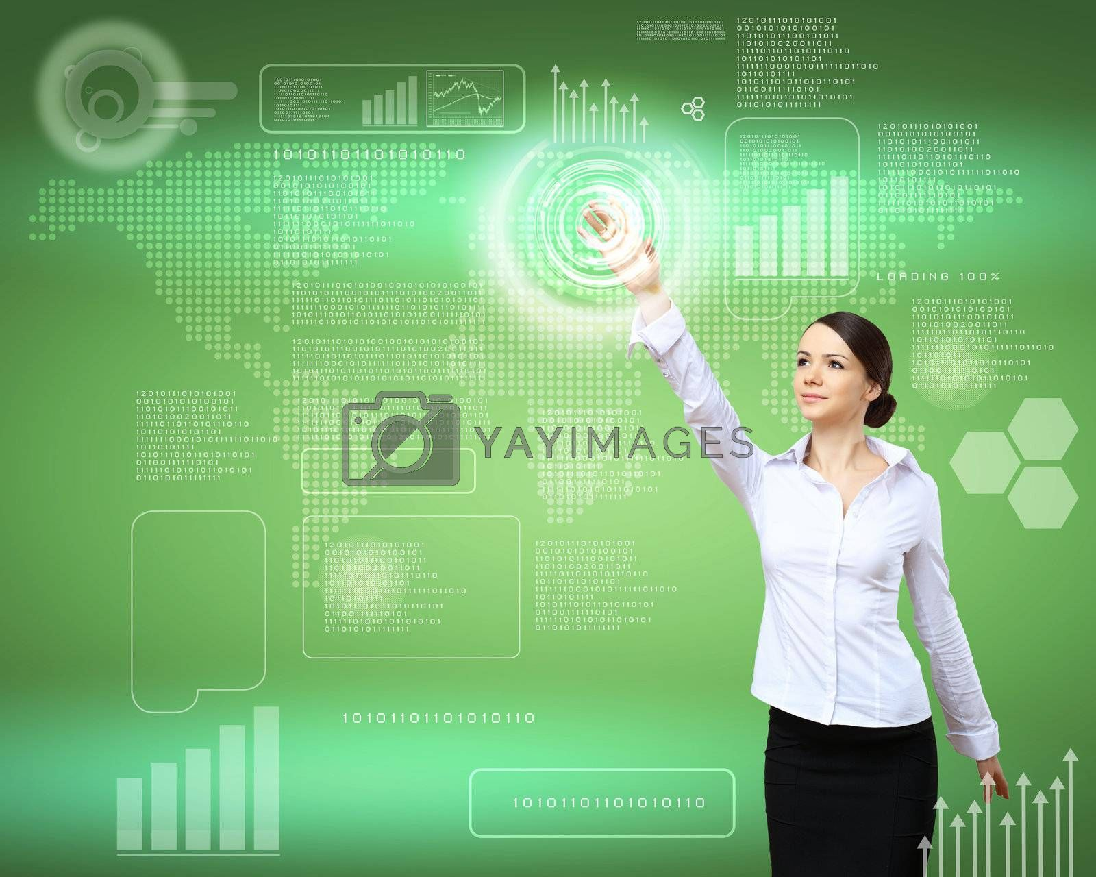 Business person working with modern virtual technology