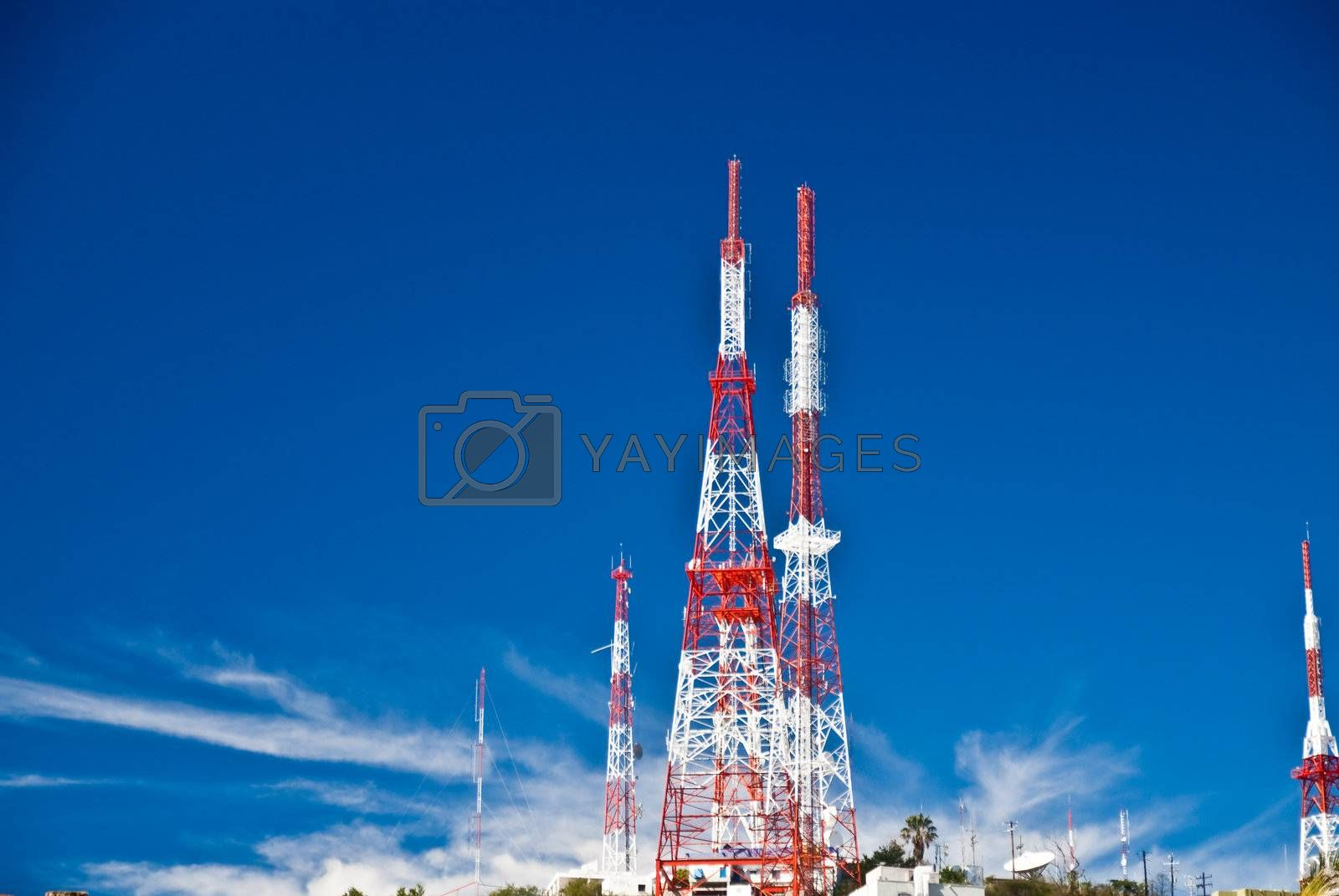 Communication towers on Mexican hillside