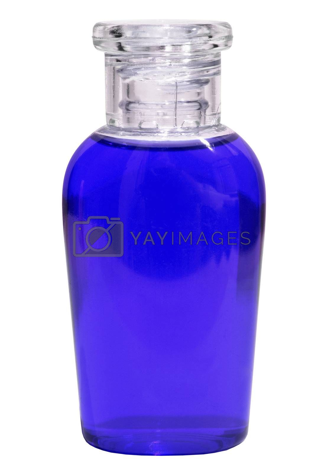 Small bottle with blue liquid on white background by pzaxe