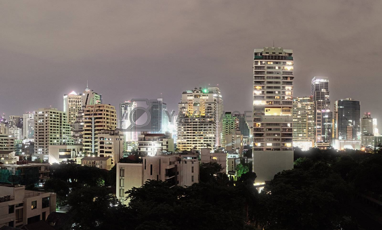Modern architecture in Bangkok - high-rise buildings in the city center