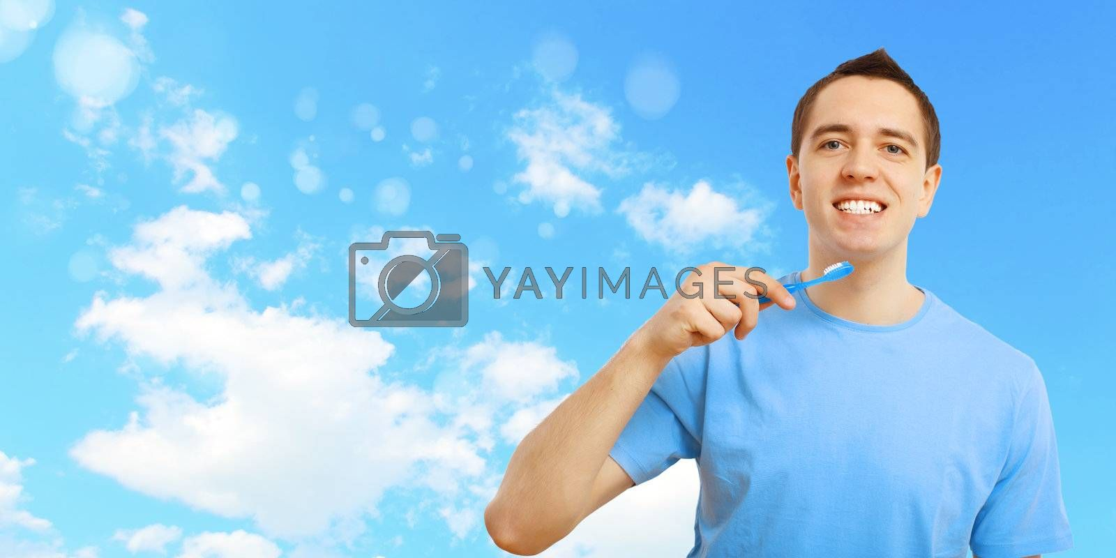 Young man with tooth brush by Sergey Nivens