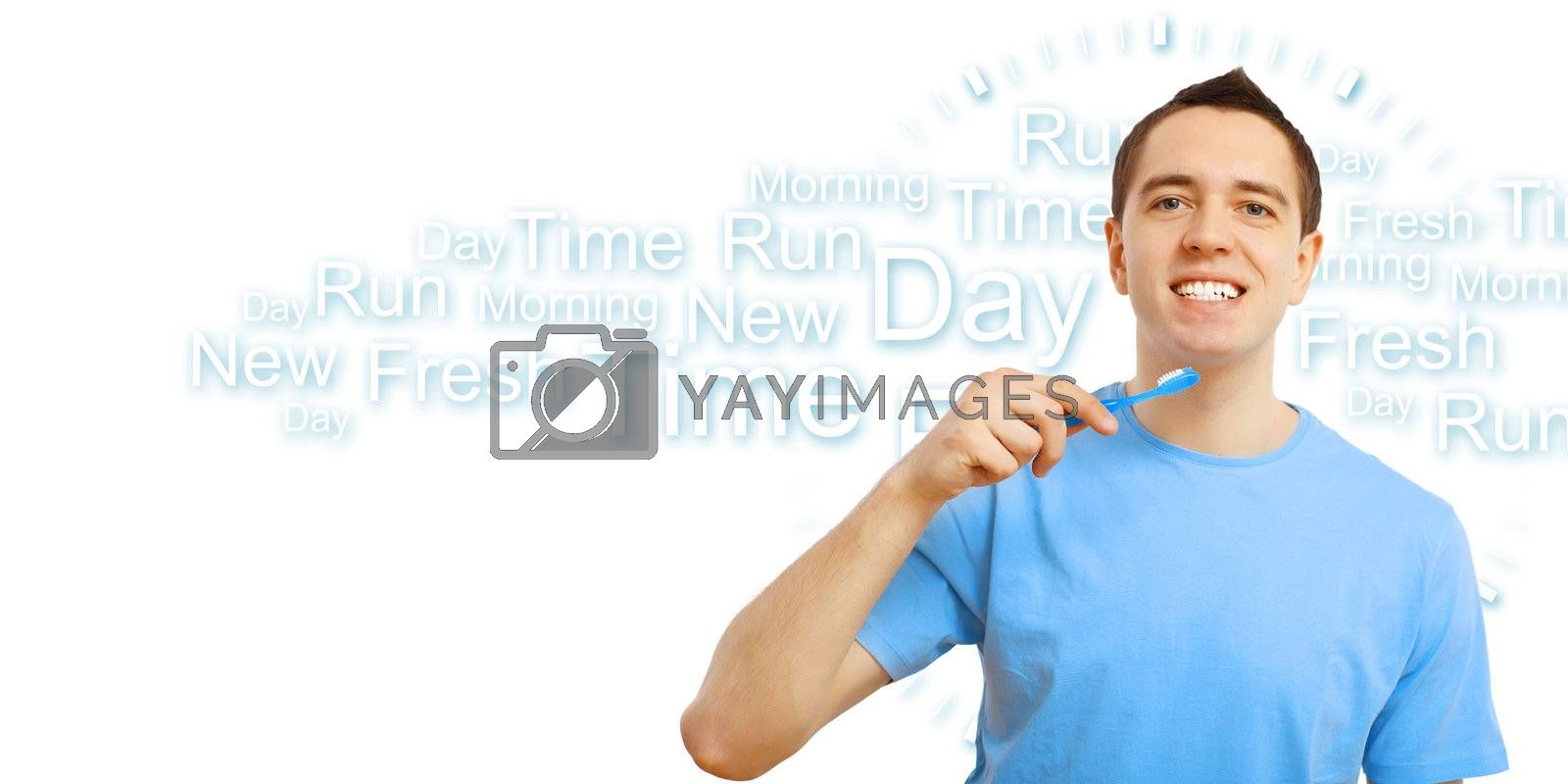 Young man in blue shirt brushing his teeth