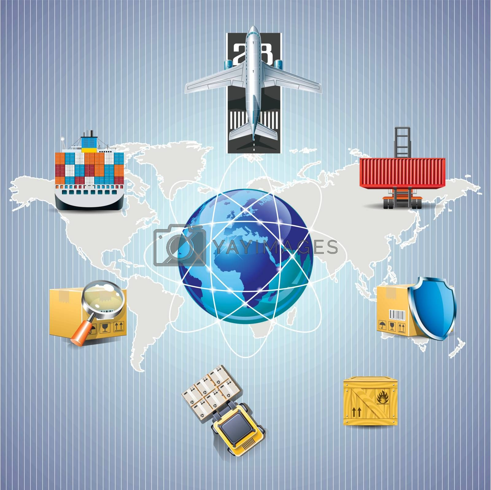 Distribution and cargo shipping illustration