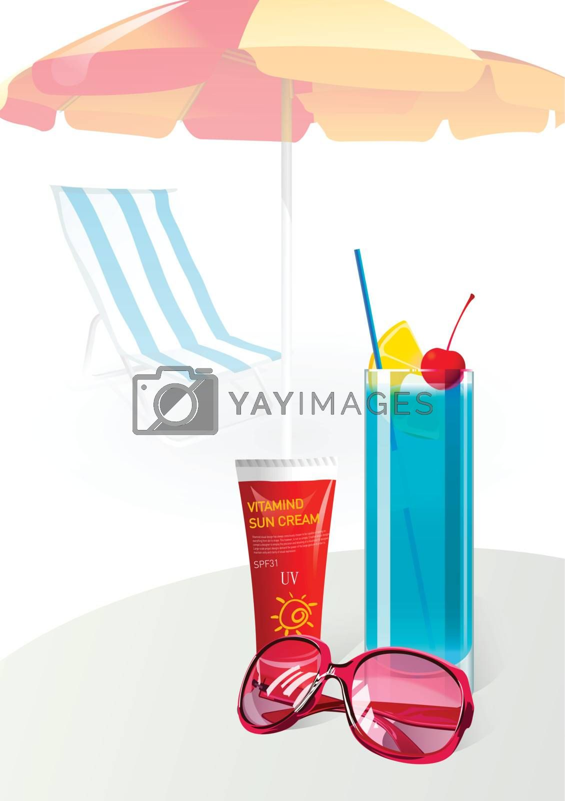Summer vacation sunglasses suntan cream with Juice