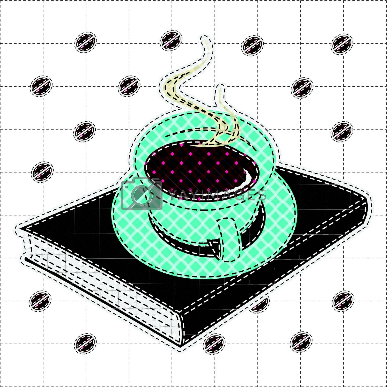 Illustrations patchwork of Coffee cup and book