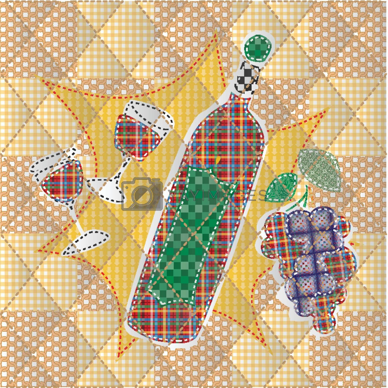 Illustrations patchwork of bottle of wine and a glass of wine