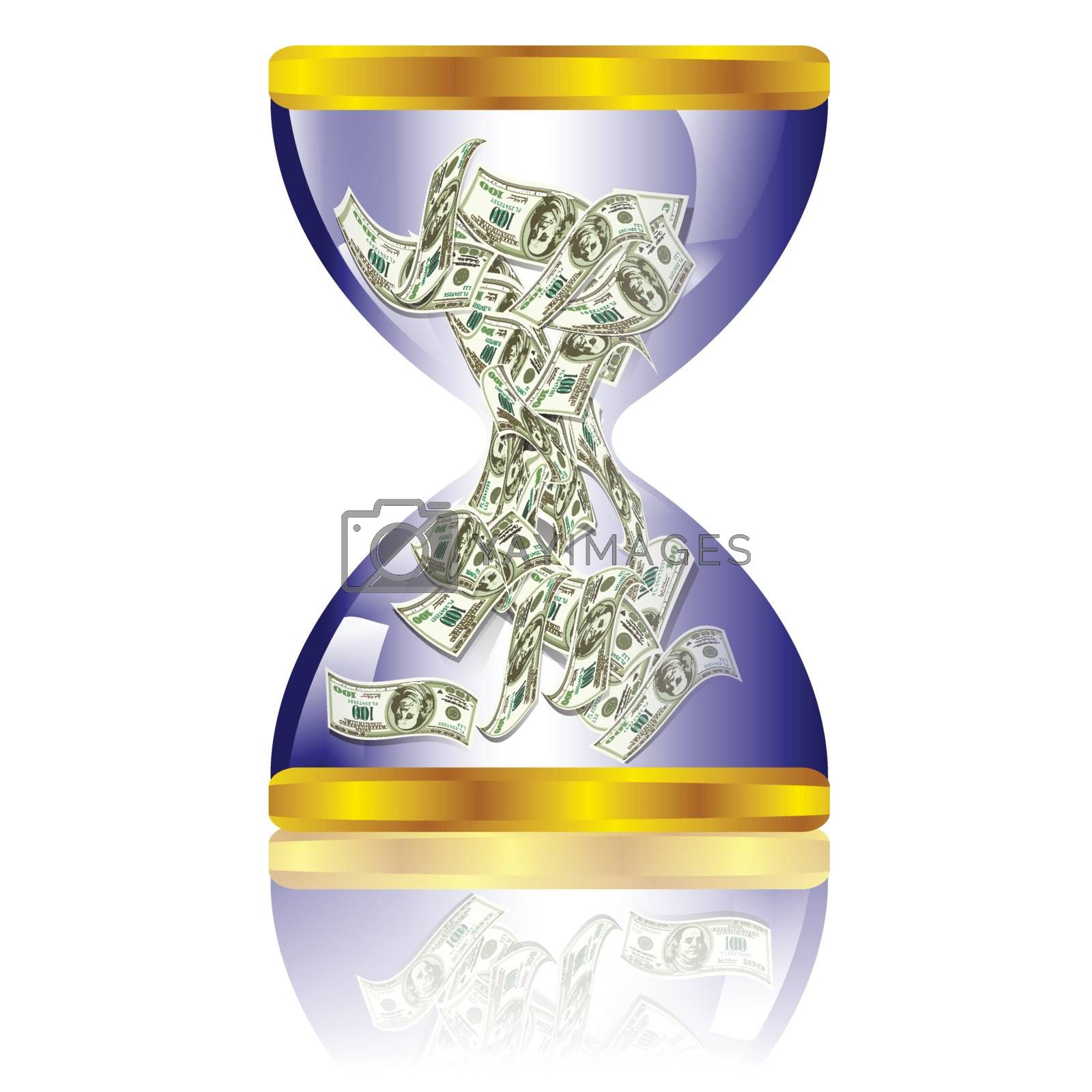 Dollar bills stuffed in hourglass