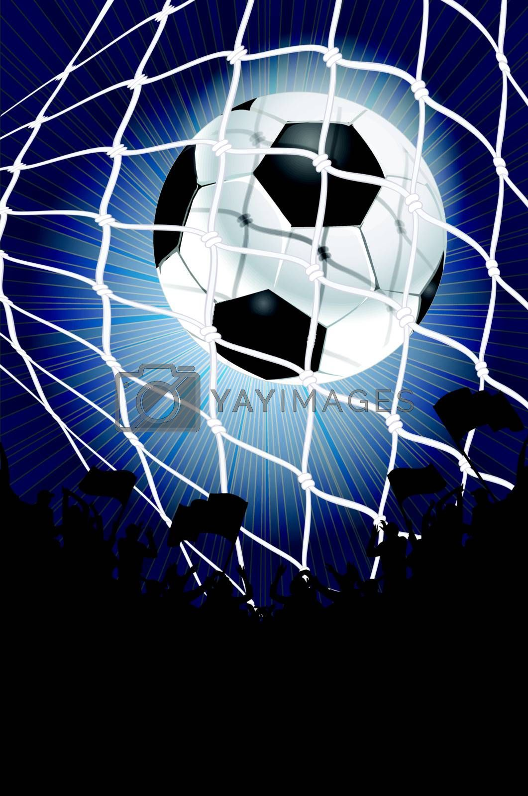 Silhouettes of fans celebrating a goal on football ,soccer match