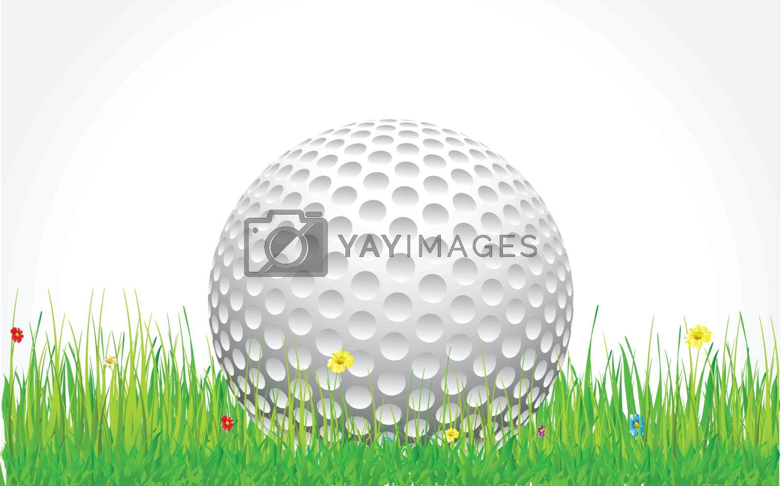 golf ball sitting in the grass with flower
