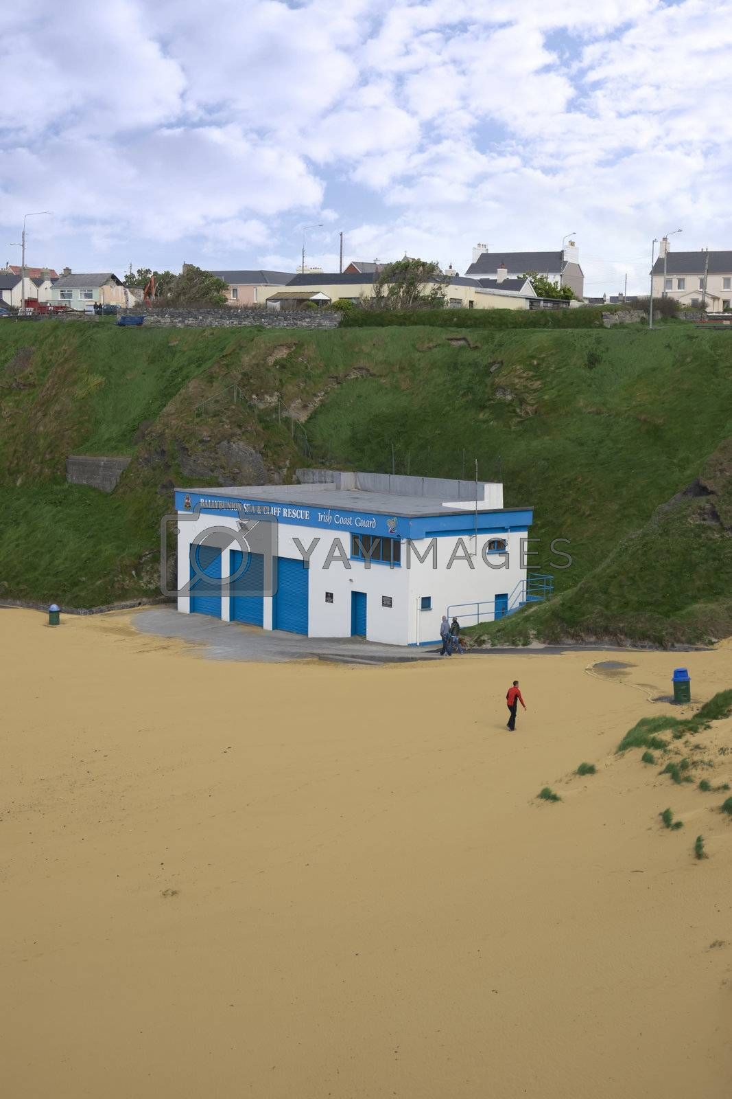 Ballybunion sea and cliff rescue centre on Ballybunion beach in county Kerry Ireland