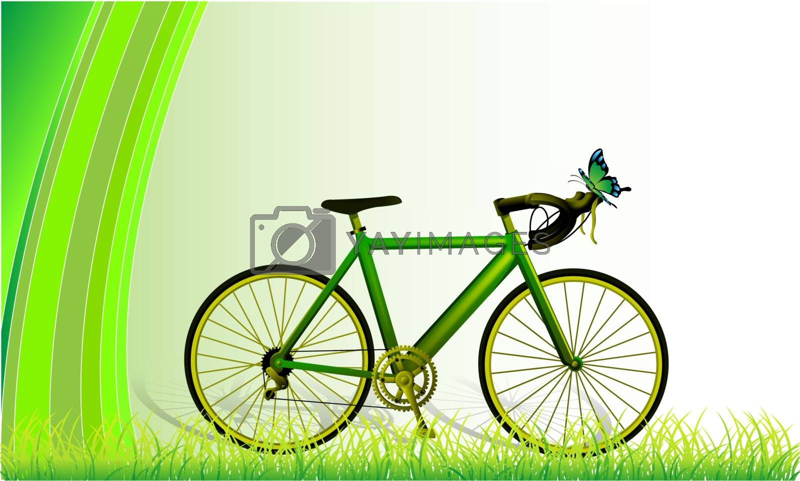 green mountain bicycle at field and green background