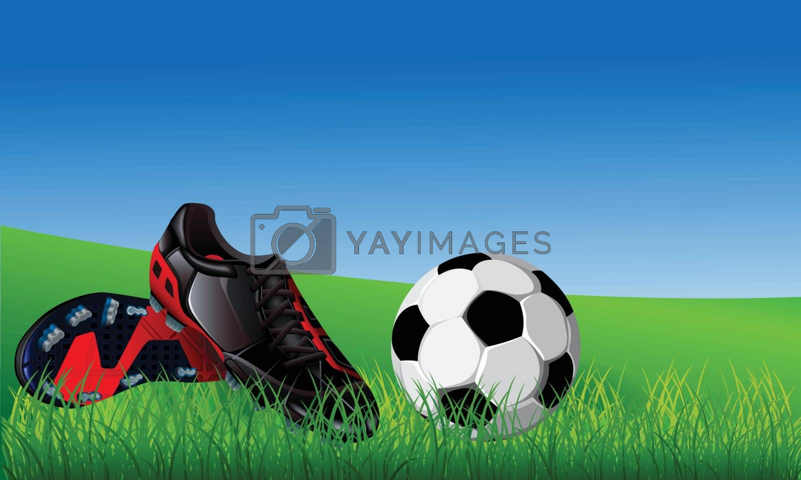 Closeup of soccer ball and black soccer shoes on fresh grass