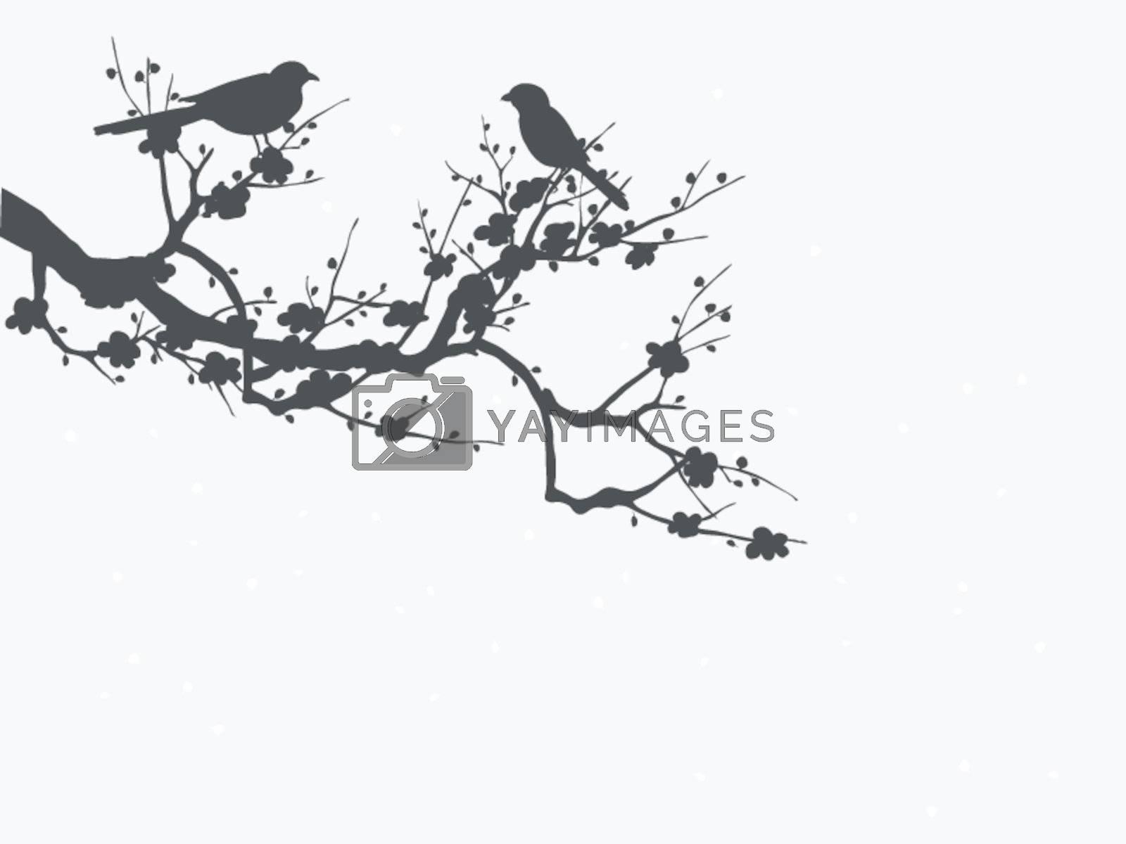 Silhouette of birds on Sakura blooming