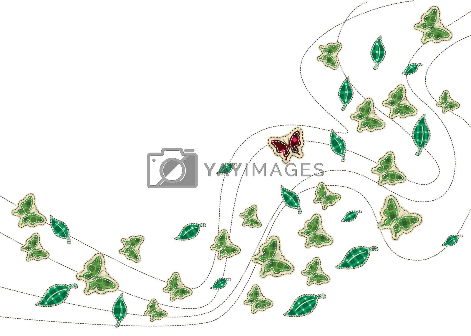 patchwork of Leaves with butterfly background
