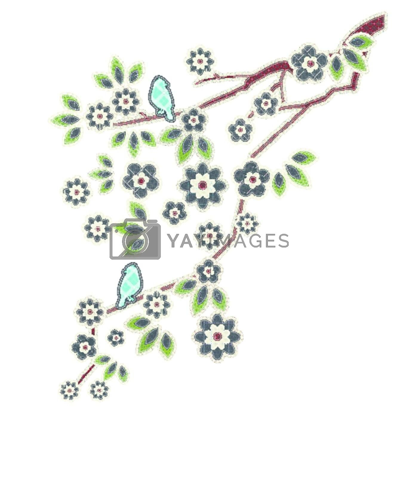Illustrations patchwork of Leaves, flowers, birds