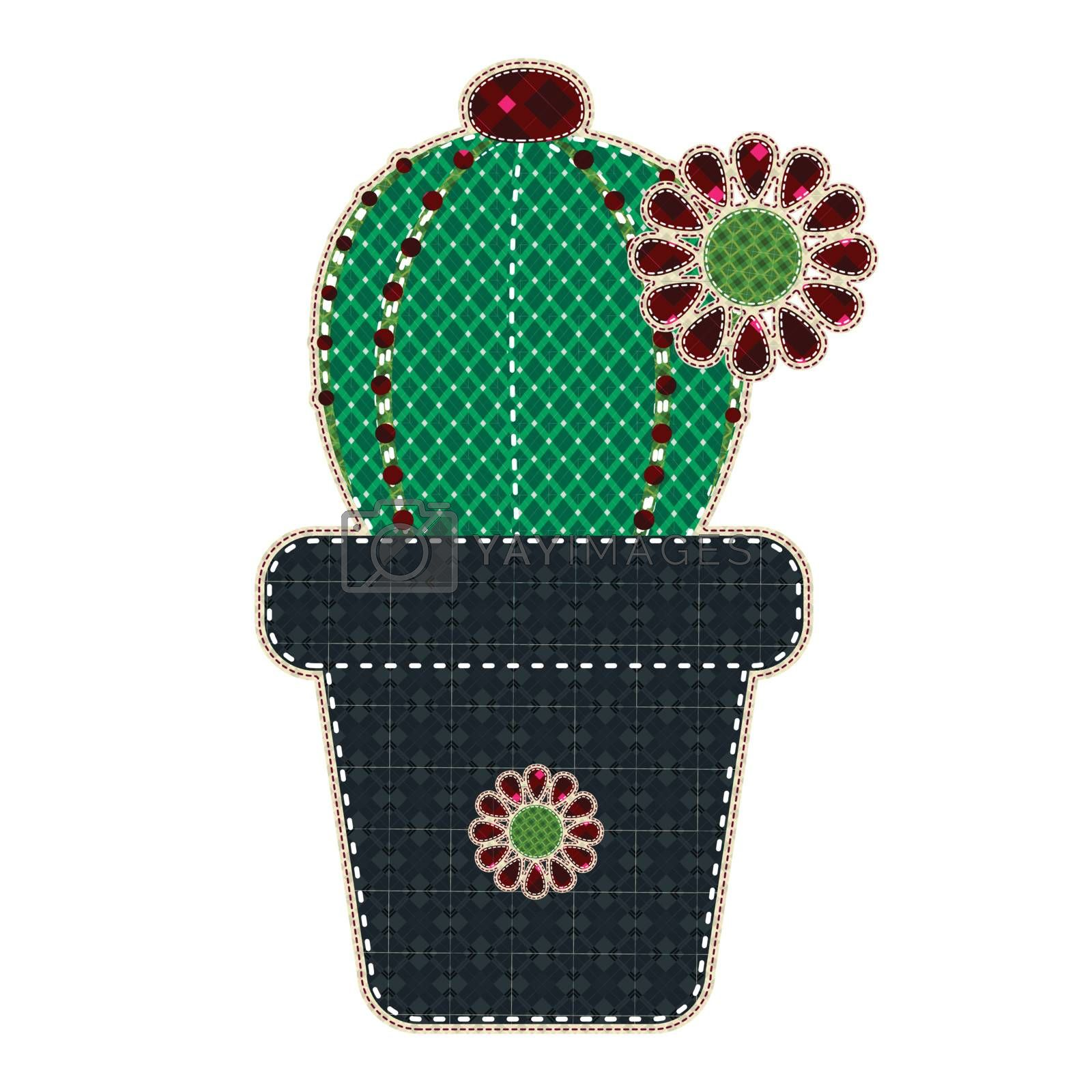 Illustrations patchwork of Cactus in a pot
