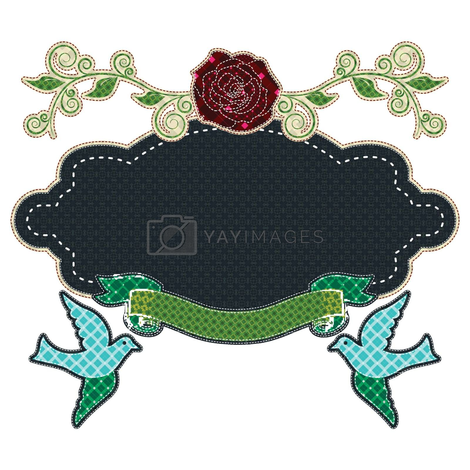 Illustrations patchwork of frame love with rose