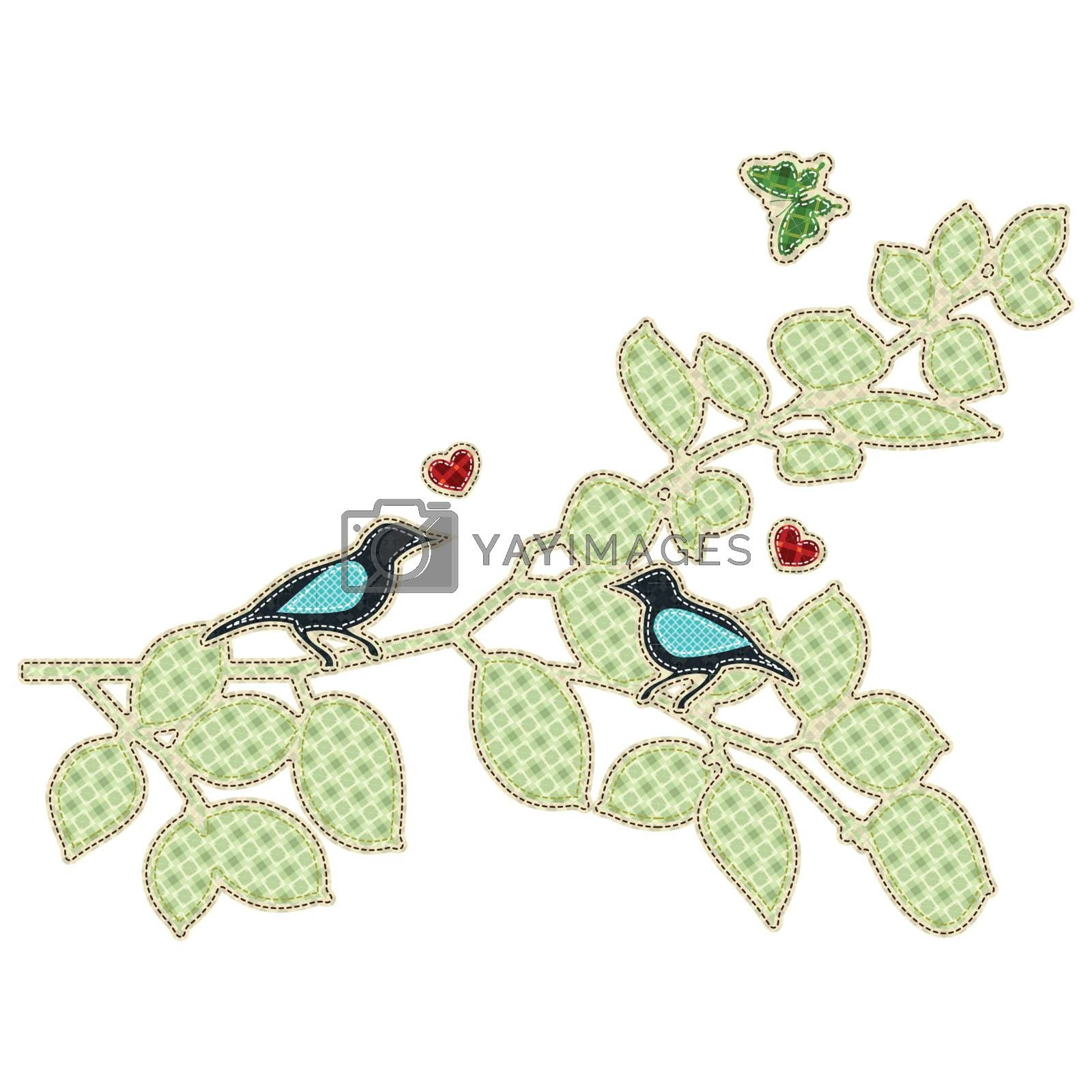 Illustrations patchwork of love bird
