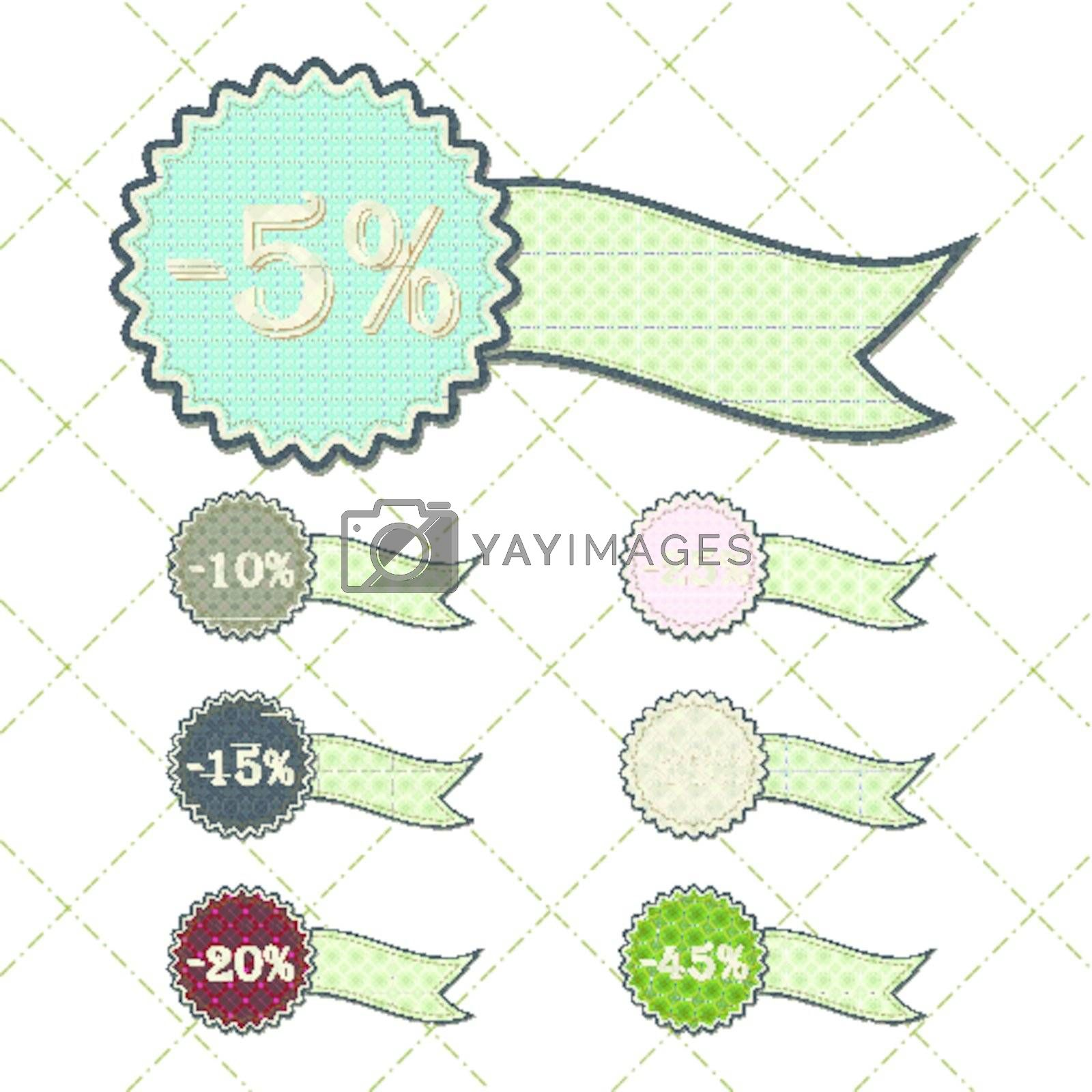 patchwork concept of ribbon discount tag set