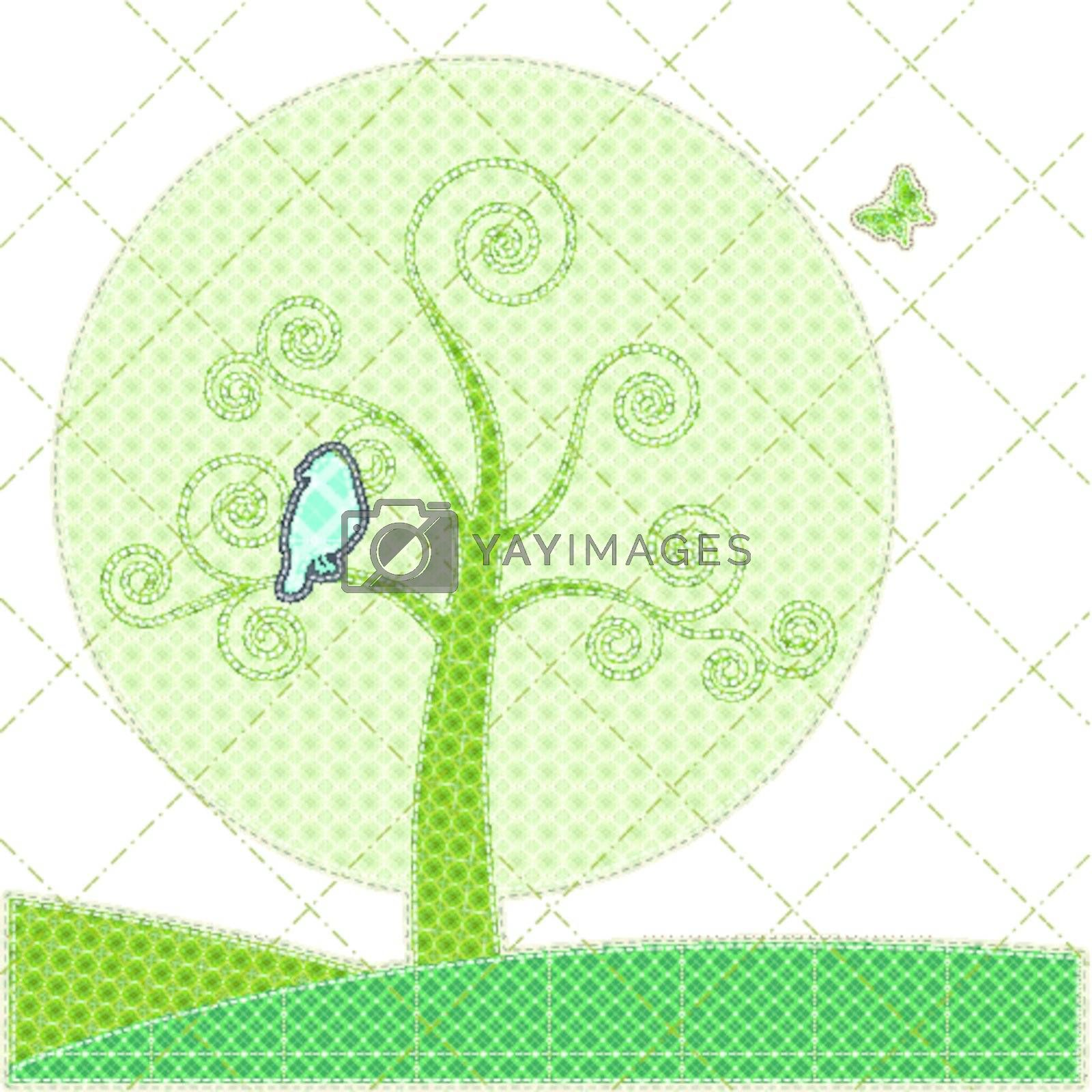 Illustrations patchwork of birthday card with tree and bird