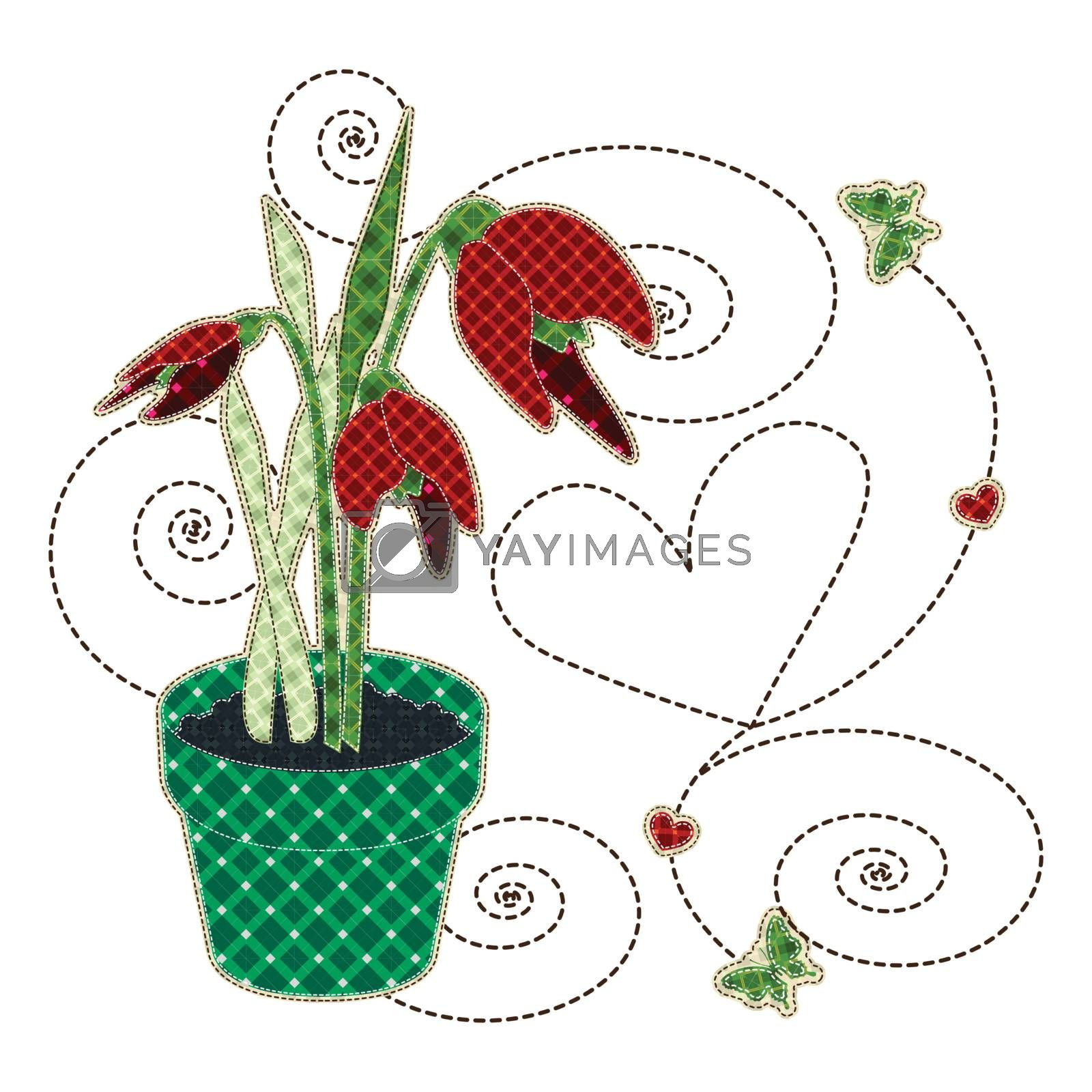 Illustrations patchwork of tulips in a pot with butterfly