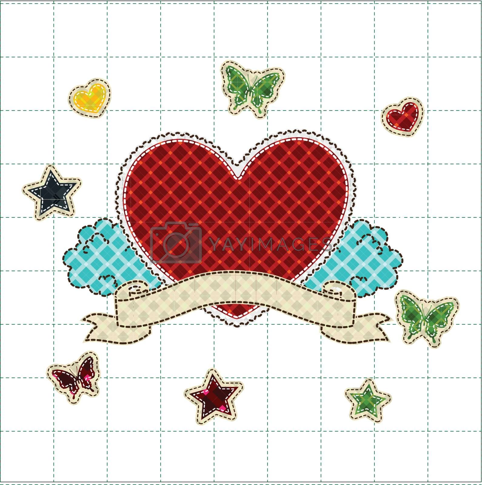 patchwork of Heart with ribbon greetings card for Valentines day