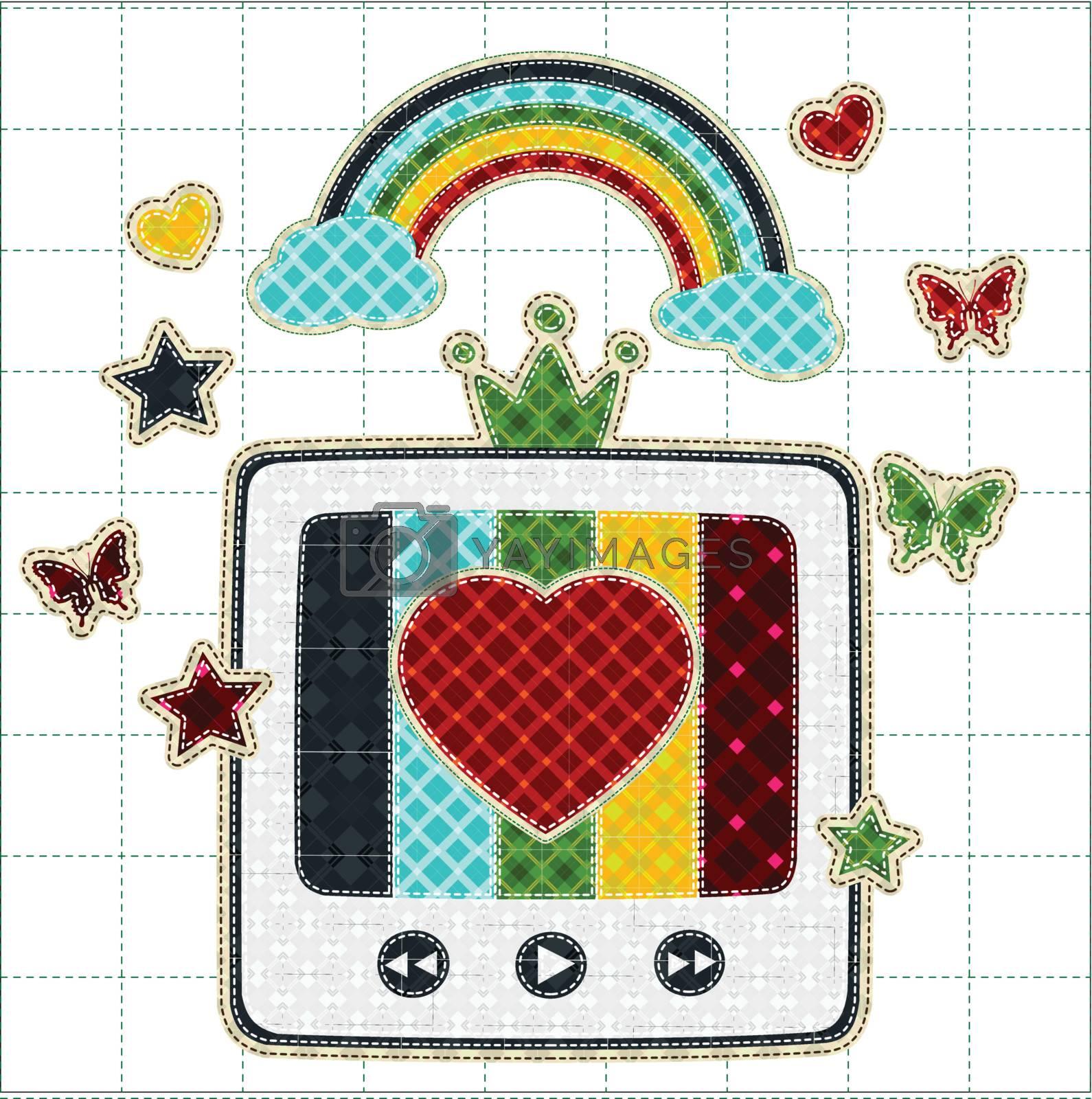 Illustrations patchwork of retro tv color screen rainbow